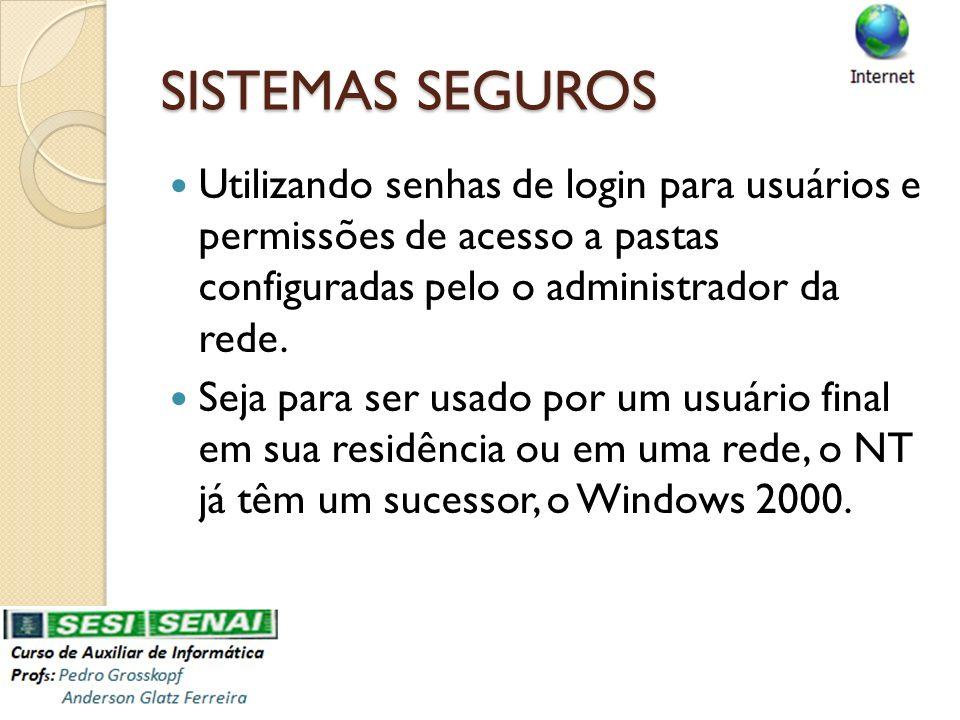 SISTEMAS SEGUROS Utilizando senhas de login para usuários e permissões de acesso a pastas configuradas pelo o administrador da rede.