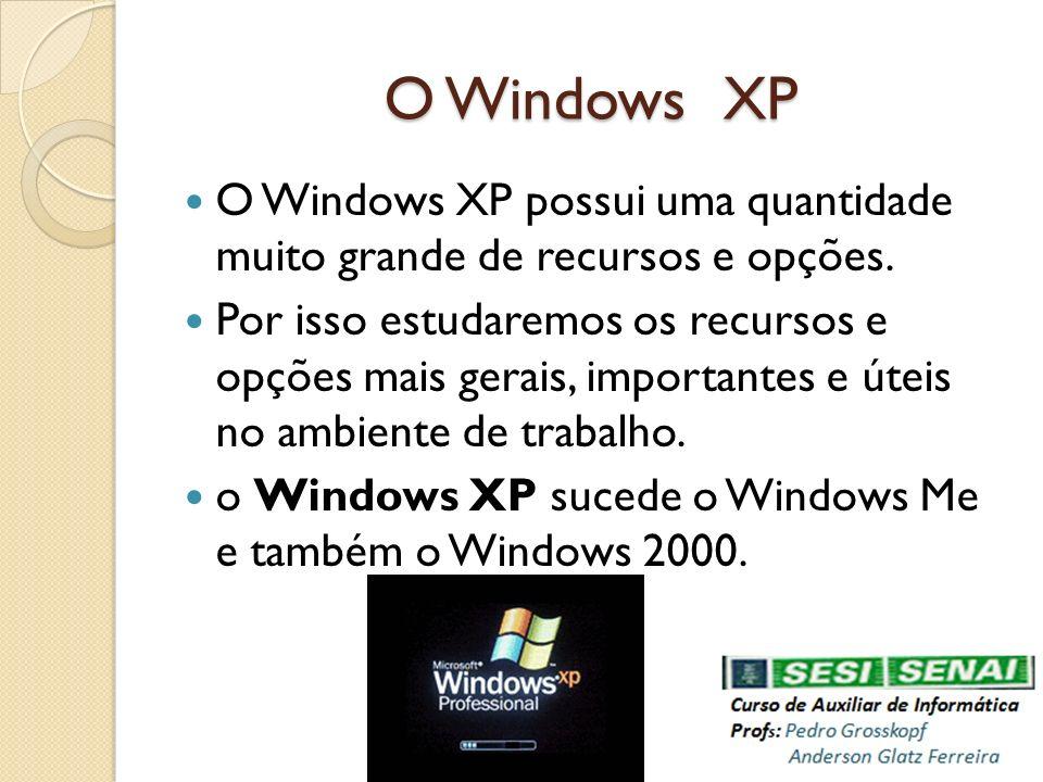 O Windows XP O Windows XP possui uma quantidade muito grande de recursos e opções.