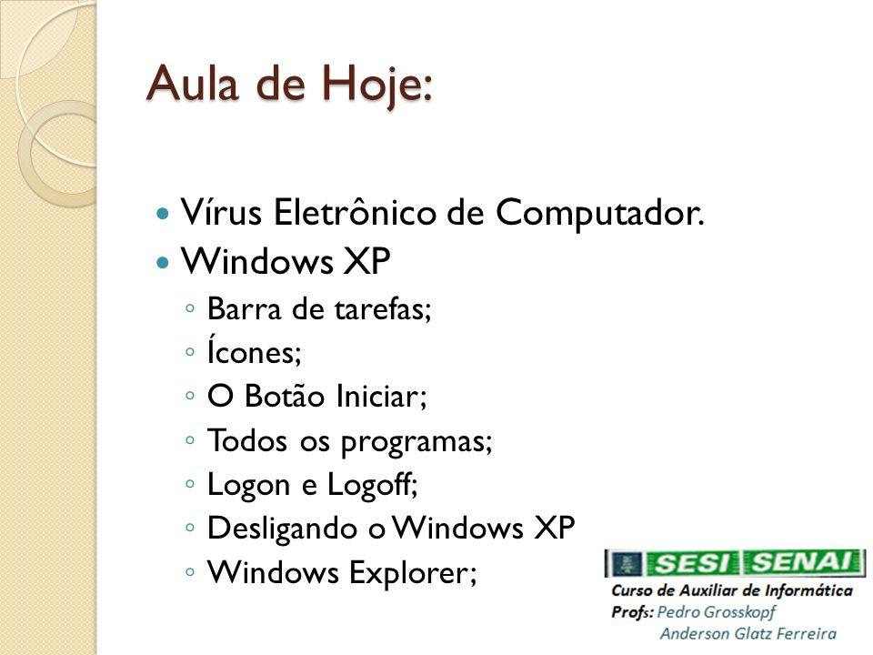 Aula de Hoje: Vírus Eletrônico de Computador. Windows XP