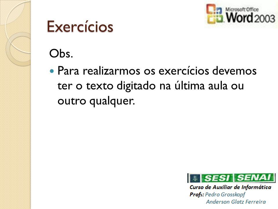 Exercícios Obs.