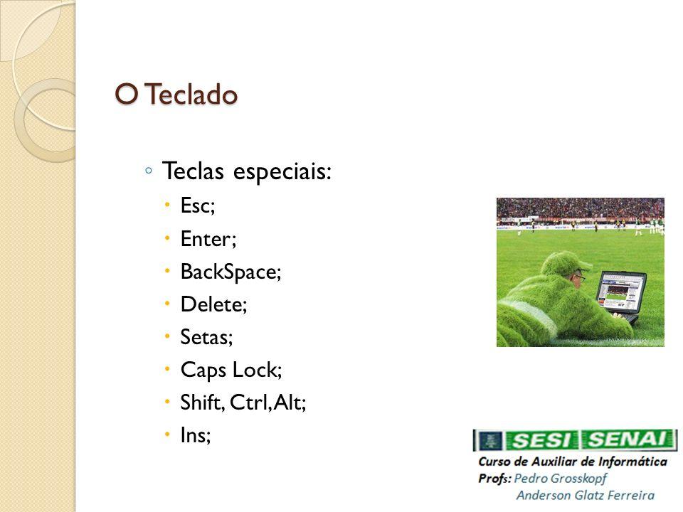 O Teclado Teclas especiais: Esc; Enter; BackSpace; Delete; Setas;