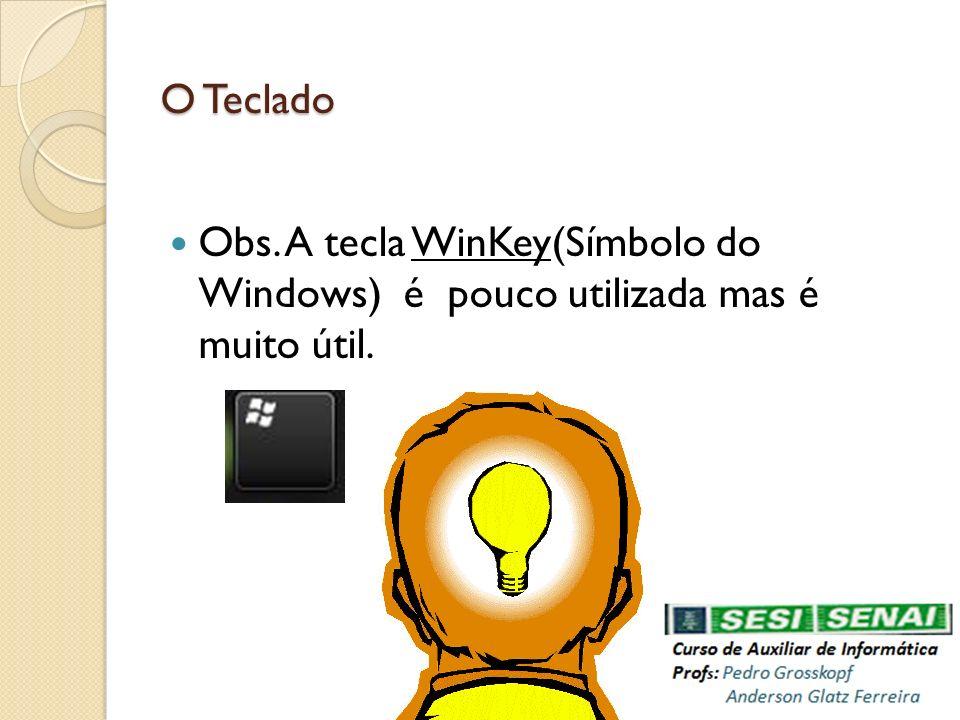 O Teclado Obs. A tecla WinKey(Símbolo do Windows) é pouco utilizada mas é muito útil.