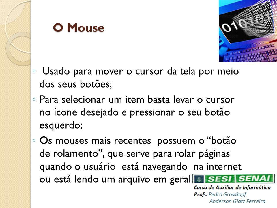 O Mouse Usado para mover o cursor da tela por meio dos seus botões;