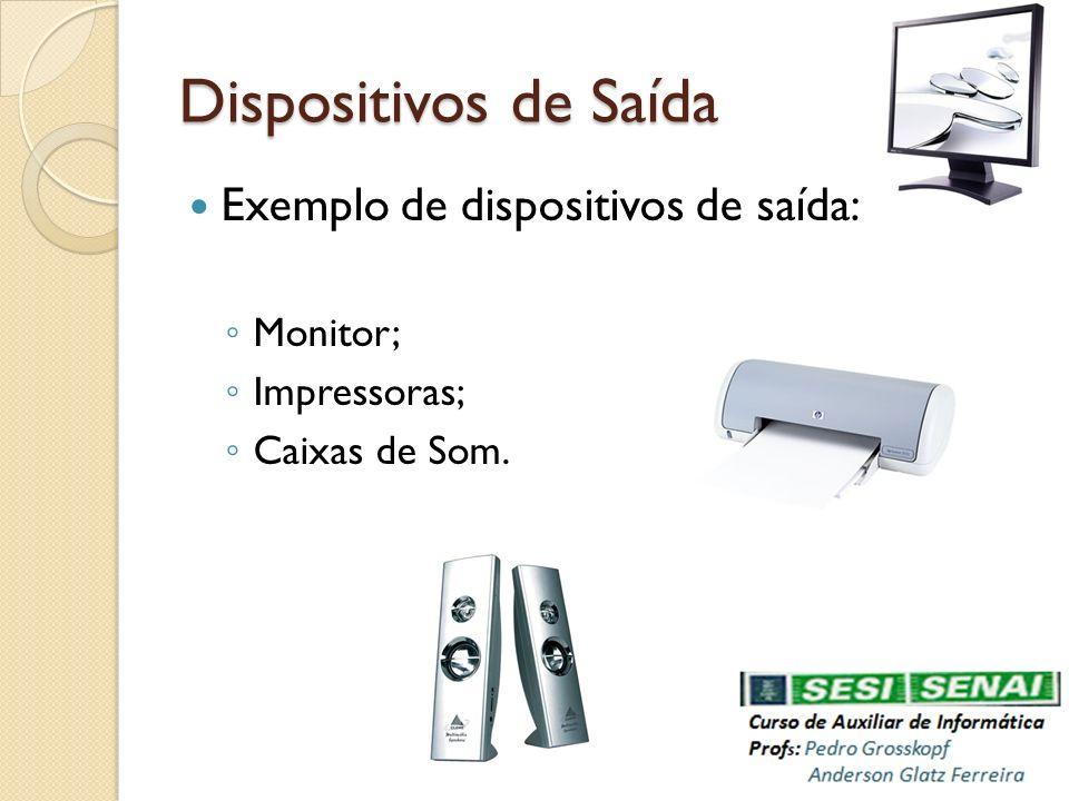 Dispositivos de Saída Exemplo de dispositivos de saída: Monitor;