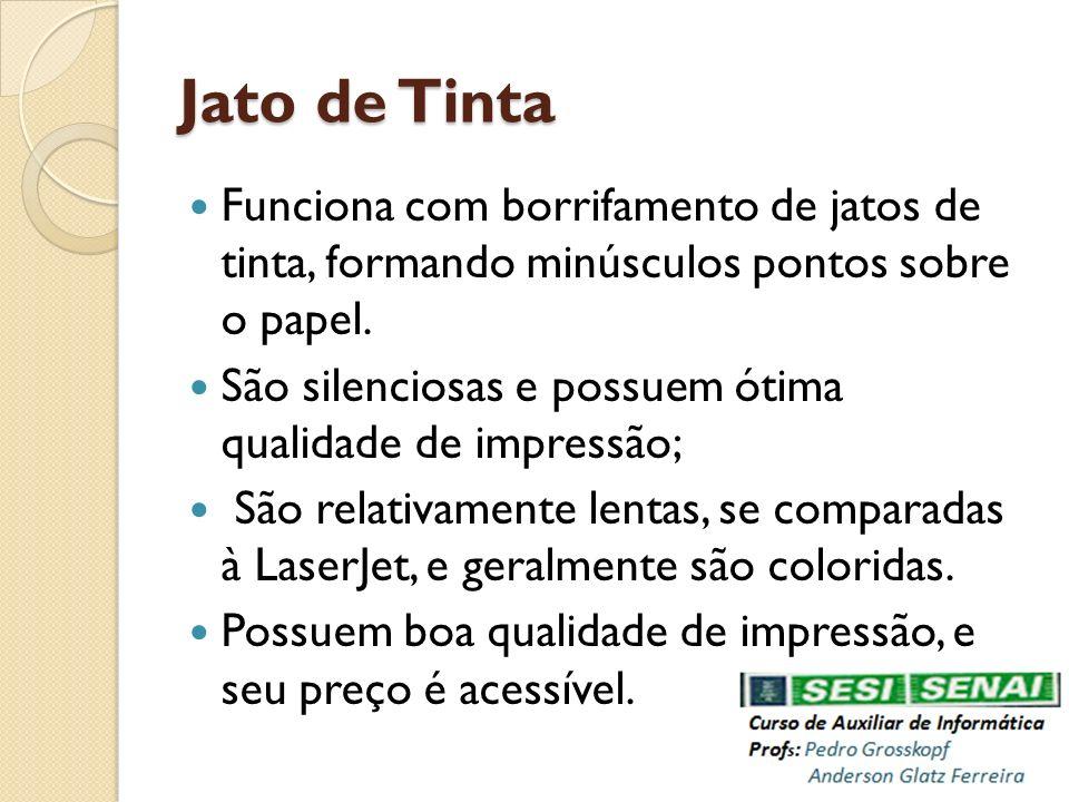 Jato de Tinta Funciona com borrifamento de jatos de tinta, formando minúsculos pontos sobre o papel.