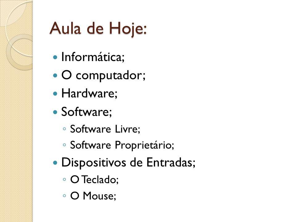 Aula de Hoje: Informática; O computador; Hardware; Software;