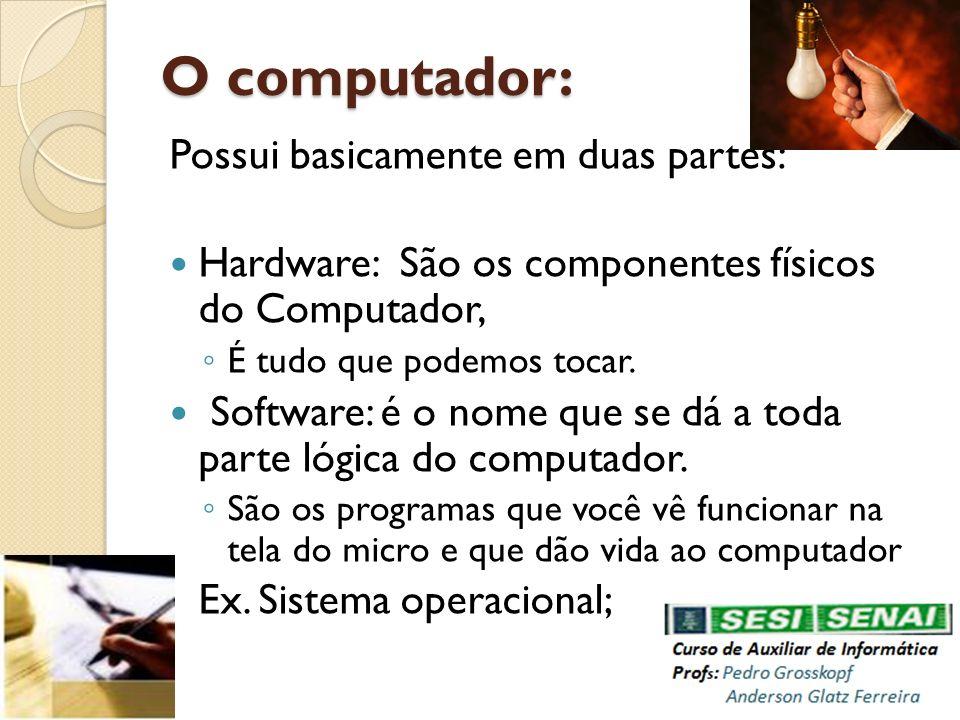 O computador: Possui basicamente em duas partes: