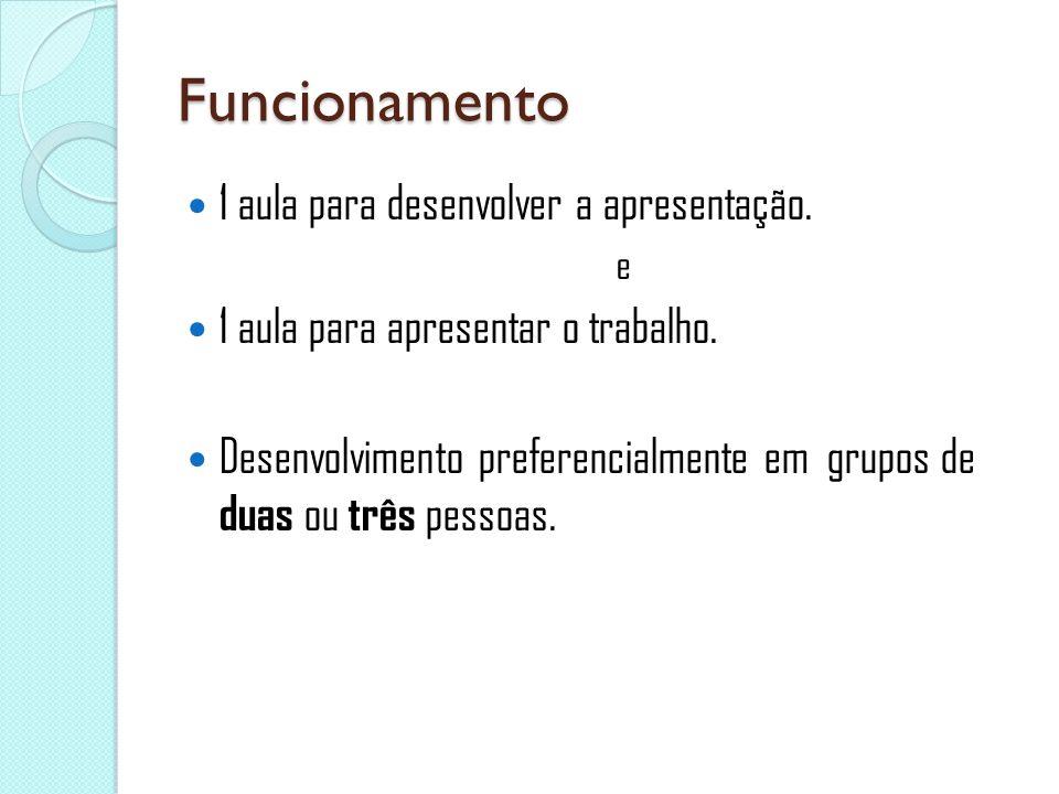 Funcionamento 1 aula para desenvolver a apresentação.