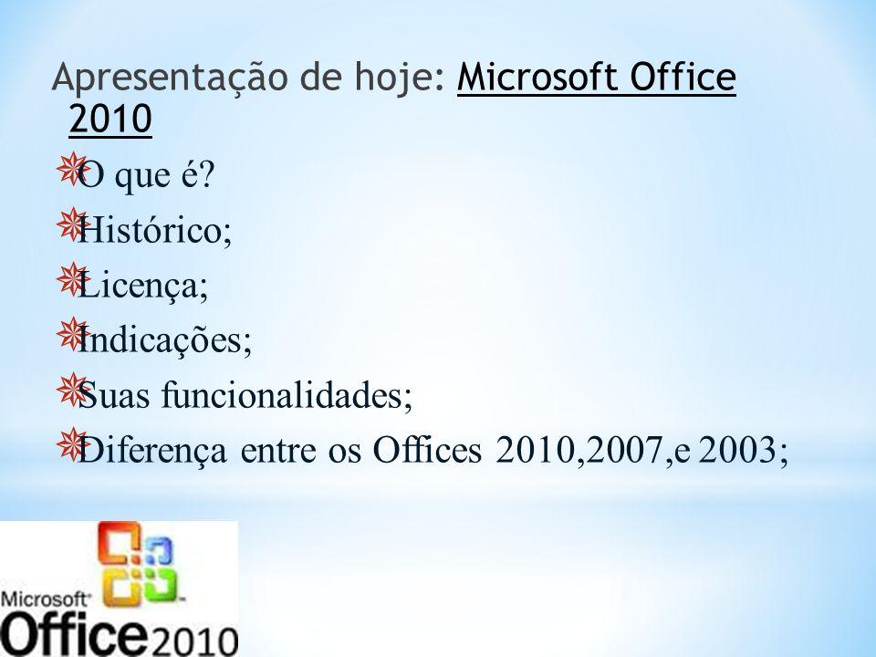 Apresentação de hoje: Microsoft Office 2010