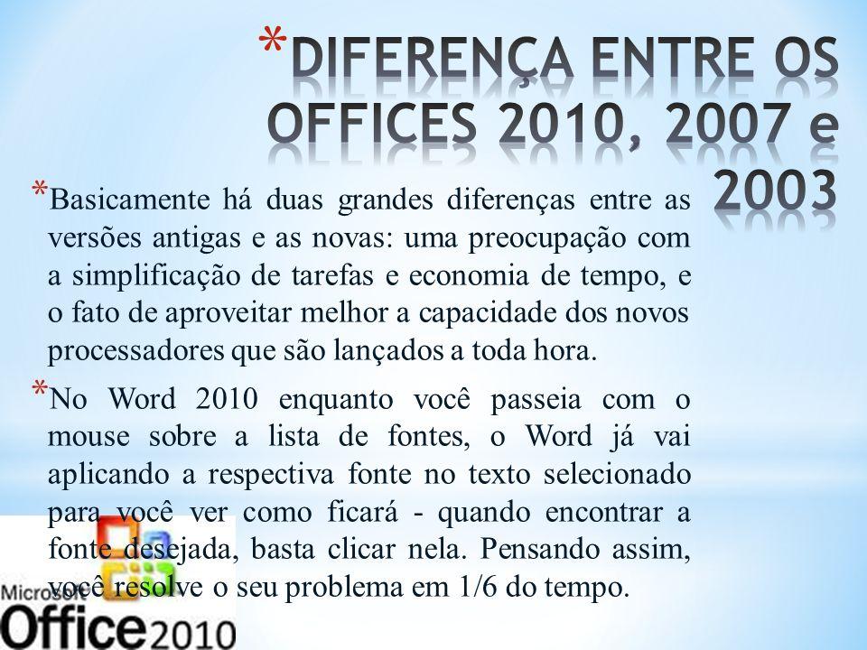 DIFERENÇA ENTRE OS OFFICES 2010, 2007 e 2003