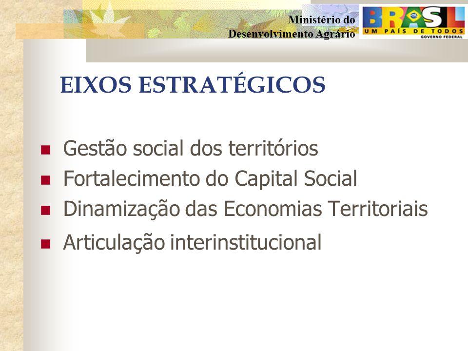 EIXOS ESTRATÉGICOS Gestão social dos territórios