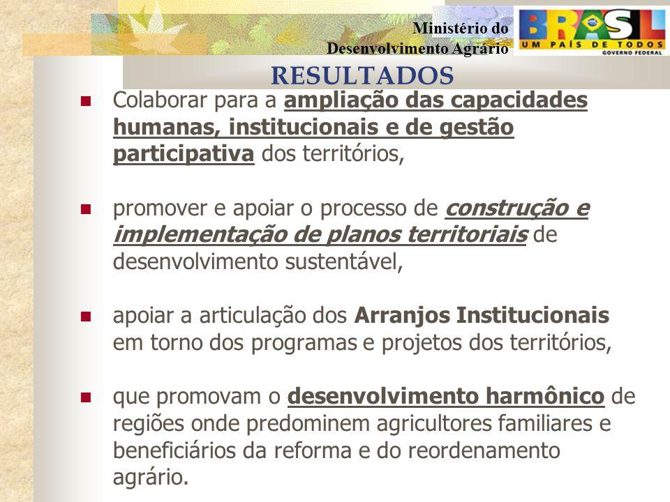 RESULTADOS Colaborar para a ampliação das capacidades humanas, institucionais e de gestão participativa dos territórios,