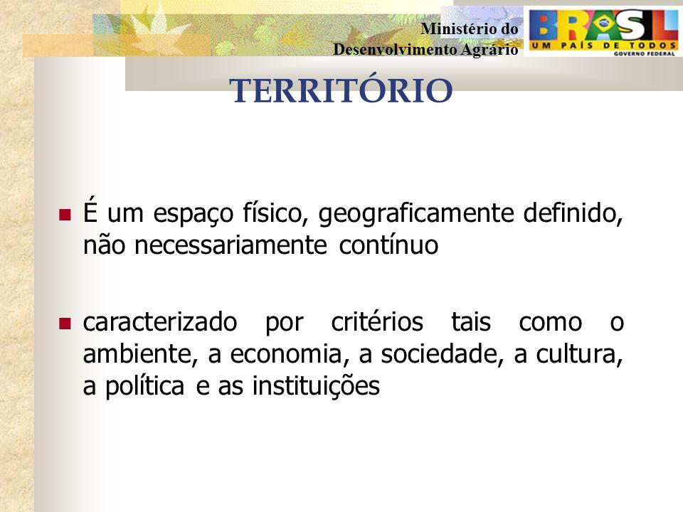 TERRITÓRIO É um espaço físico, geograficamente definido, não necessariamente contínuo.