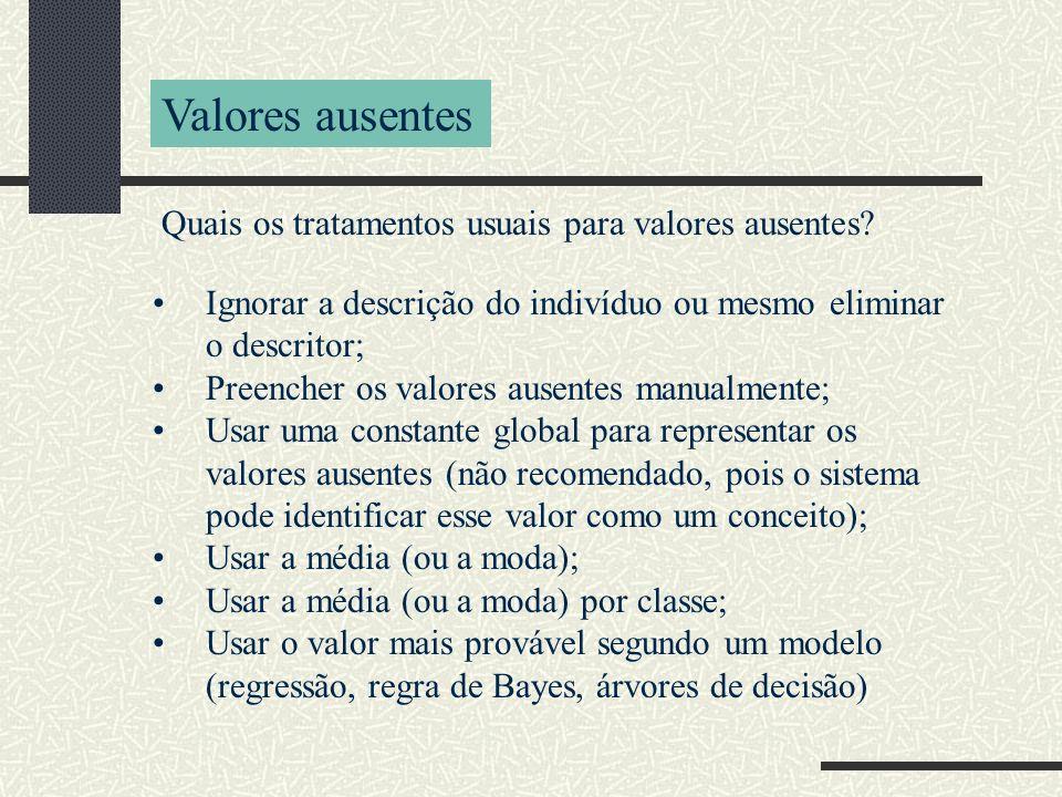 Valores ausentes Quais os tratamentos usuais para valores ausentes