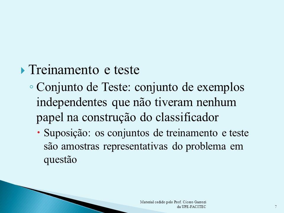 Treinamento e testeConjunto de Teste: conjunto de exemplos independentes que não tiveram nenhum papel na construção do classificador.