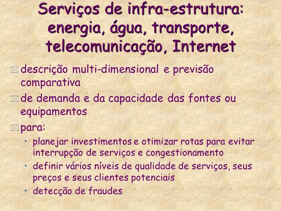 Serviços de infra-estrutura: energia, água, transporte, telecomunicação, Internet