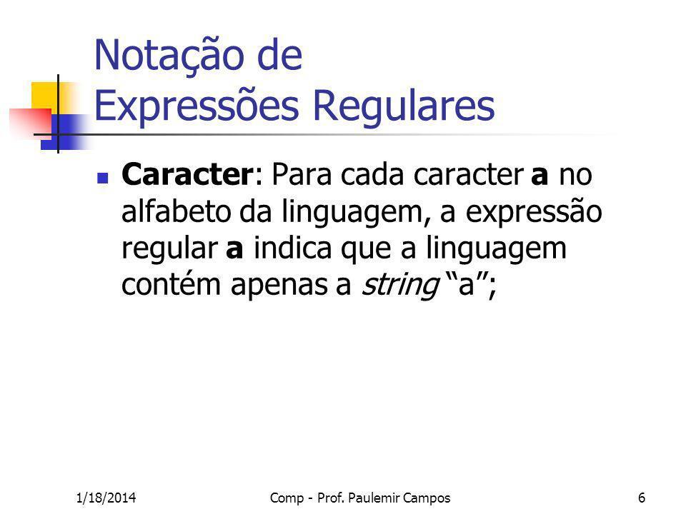 Notação de Expressões Regulares