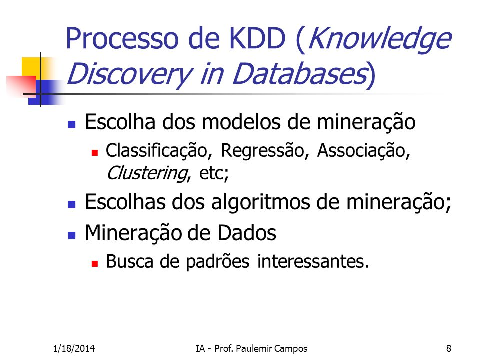 Processo de KDD (Knowledge Discovery in Databases)