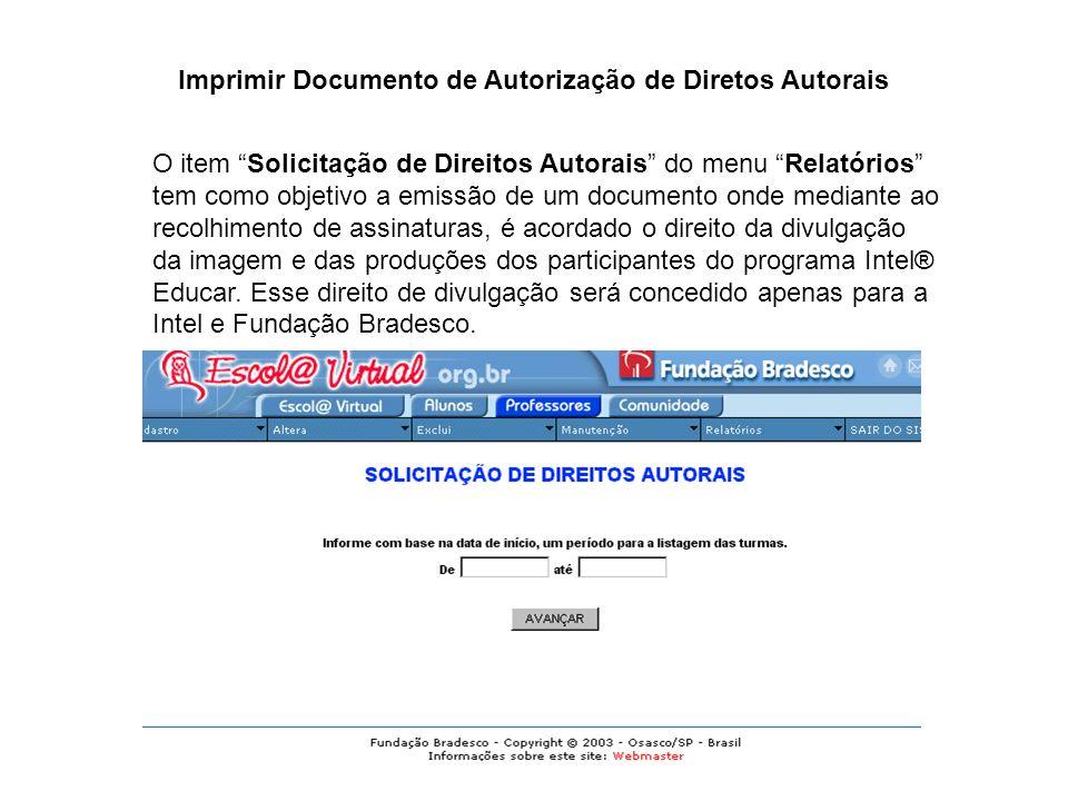 Imprimir Documento de Autorização de Diretos Autorais