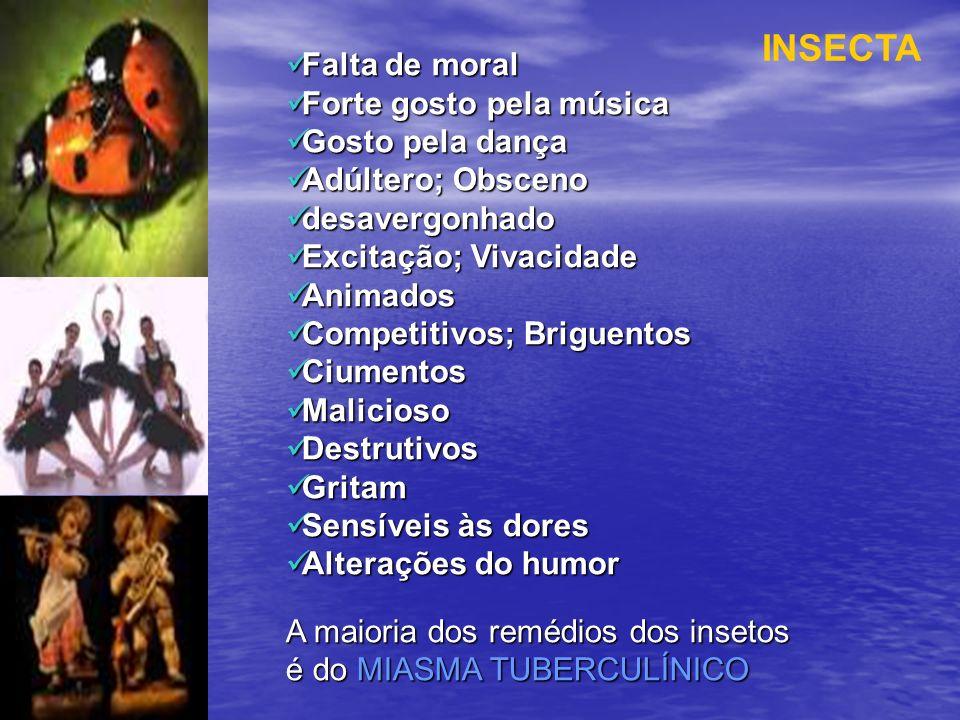 INSECTA Falta de moral Forte gosto pela música Gosto pela dança
