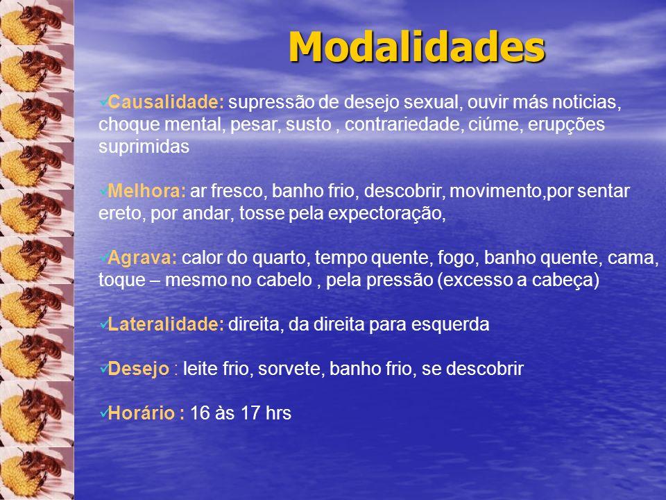 Modalidades Causalidade: supressão de desejo sexual, ouvir más noticias, choque mental, pesar, susto , contrariedade, ciúme, erupções suprimidas.