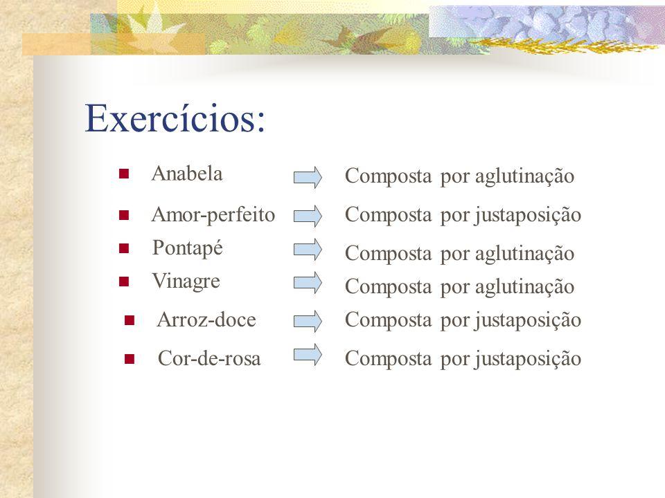 Exercícios: Anabela Composta por aglutinação Amor-perfeito
