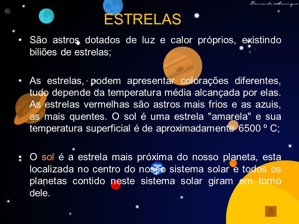 ESTRELAS São astros dotados de luz e calor próprios, existindo biliões de estrelas;