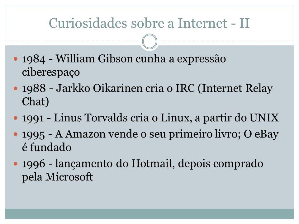 Curiosidades sobre a Internet - II