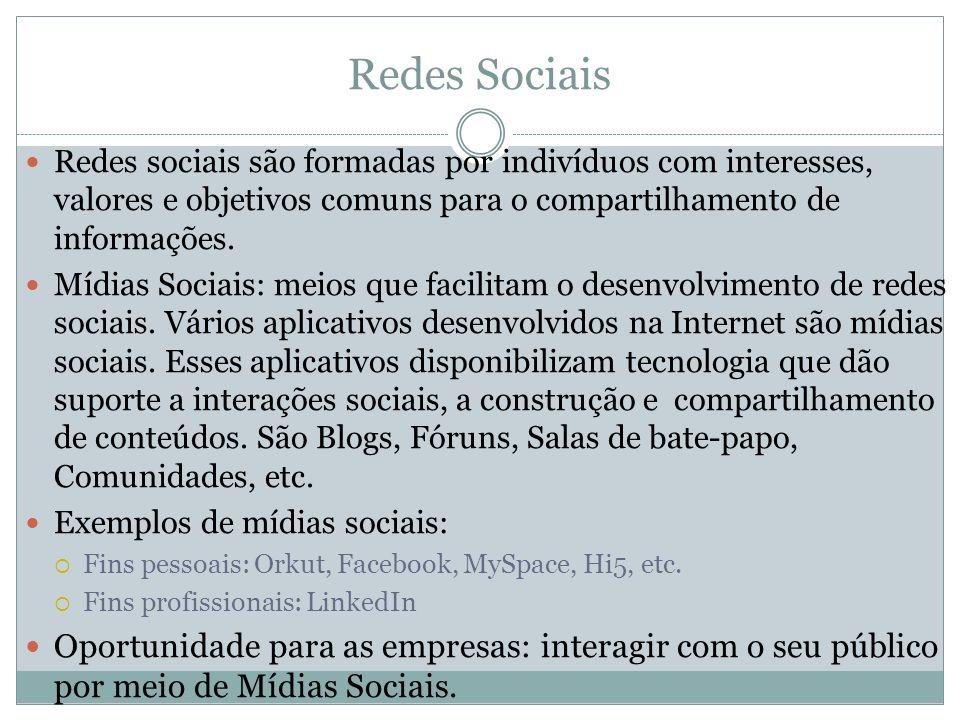 Redes Sociais Redes sociais são formadas por indivíduos com interesses, valores e objetivos comuns para o compartilhamento de informações.