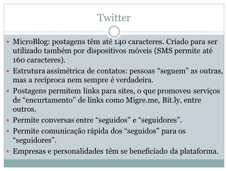 Twitter MicroBlog: postagens têm até 140 caracteres. Criado para ser utilizado também por dispositivos móveis (SMS permite até 160 caracteres).