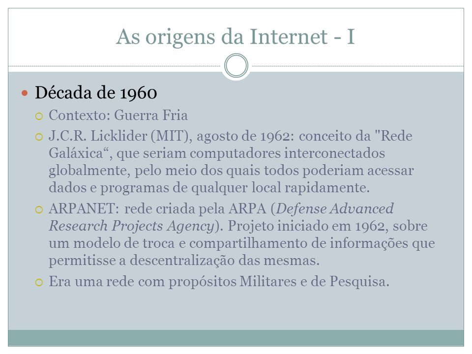 As origens da Internet - I