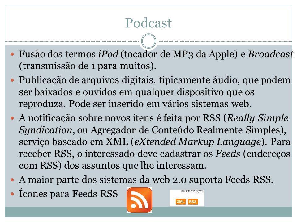 Podcast Fusão dos termos iPod (tocador de MP3 da Apple) e Broadcast (transmissão de 1 para muitos).