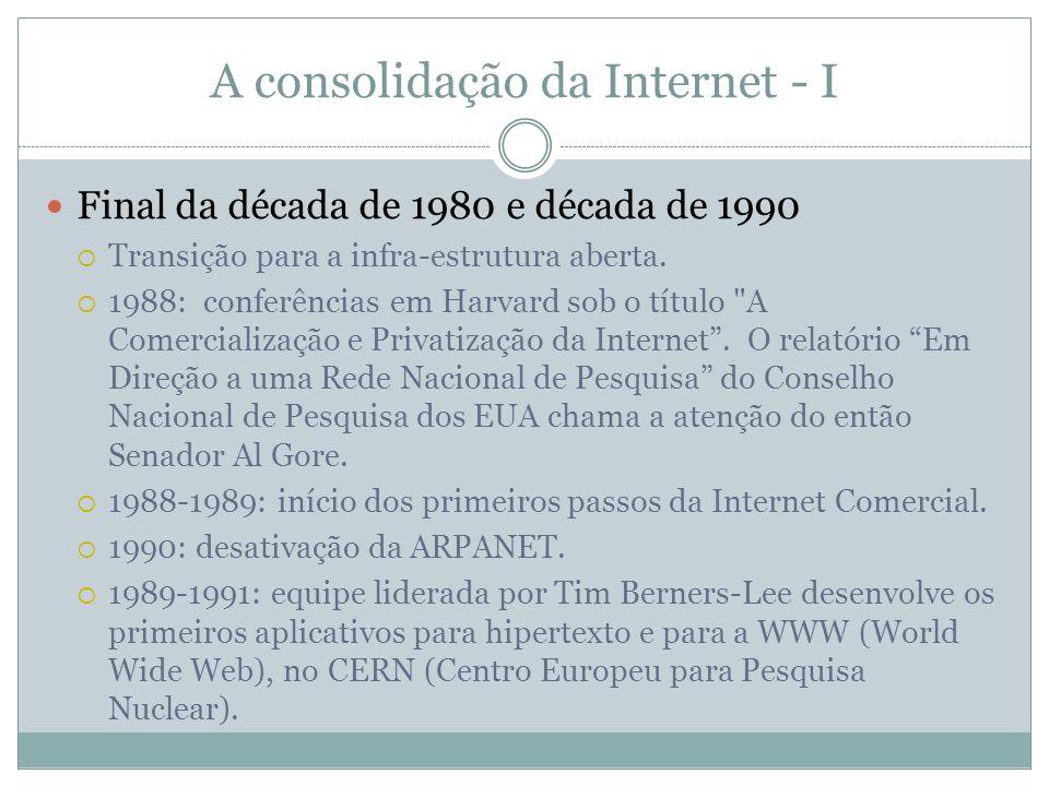 A consolidação da Internet - I