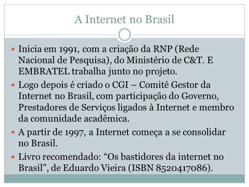 A Internet no Brasil Inicia em 1991, com a criação da RNP (Rede Nacional de Pesquisa), do Ministério de C&T. E EMBRATEL trabalha junto no projeto.