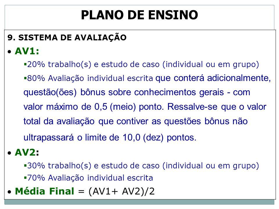 PLANO DE ENSINO AV1: AV2: Média Final = (AV1+ AV2)/2