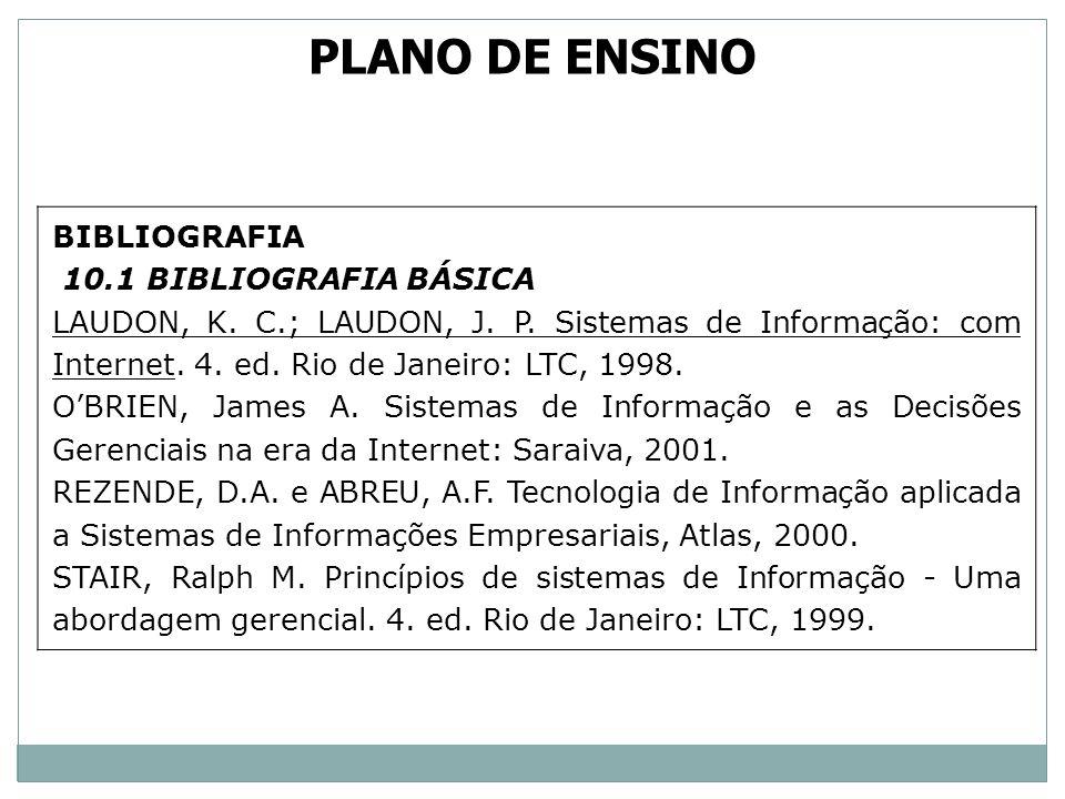 PLANO DE ENSINO BIBLIOGRAFIA 10.1 BIBLIOGRAFIA BÁSICA
