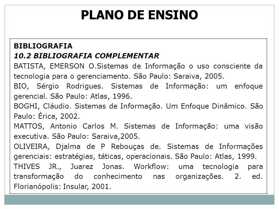 PLANO DE ENSINO BIBLIOGRAFIA 10.2 BIBLIOGRAFIA COMPLEMENTAR