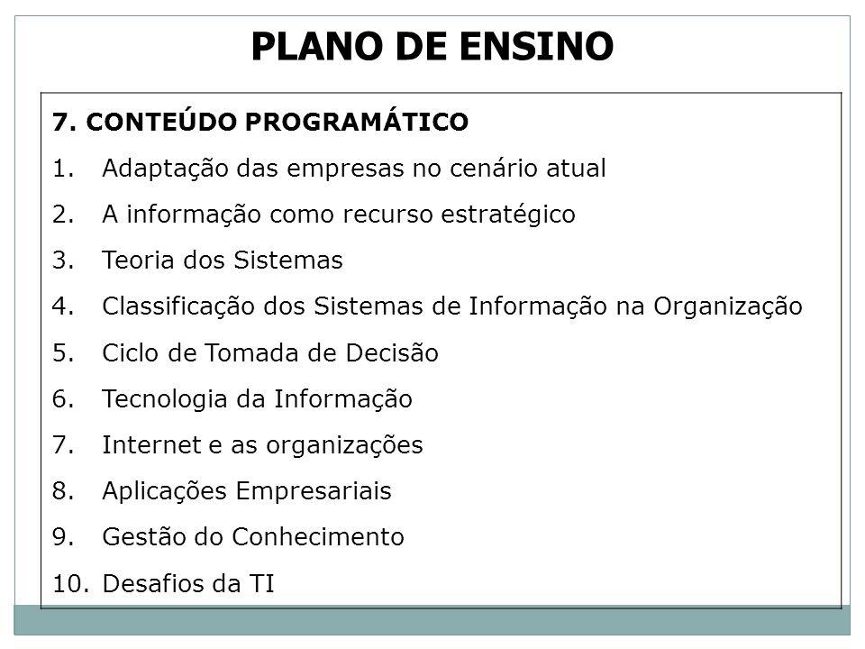 PLANO DE ENSINO 7. CONTEÚDO PROGRAMÁTICO