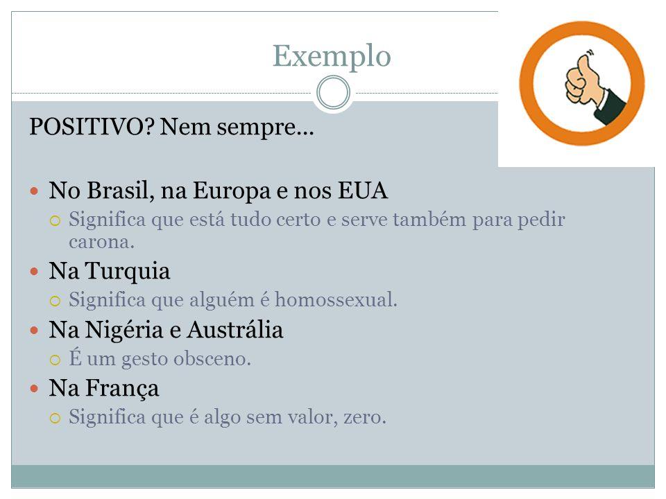 Exemplo POSITIVO Nem sempre... No Brasil, na Europa e nos EUA