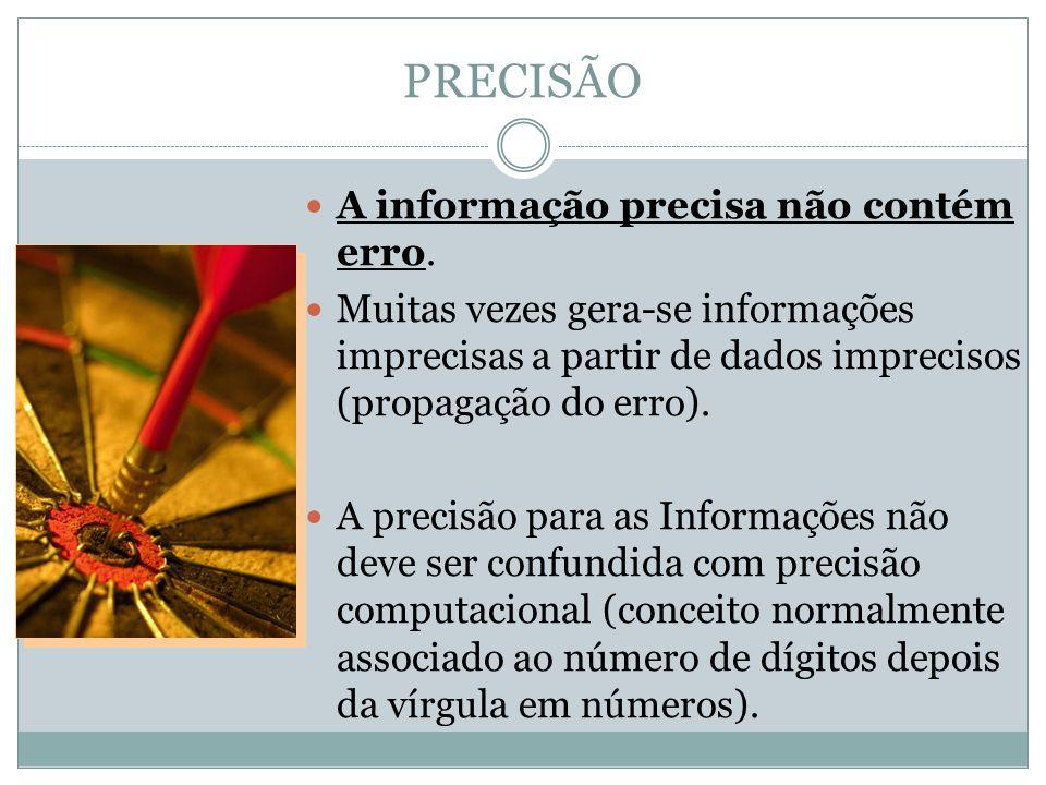 PRECISÃO A informação precisa não contém erro.
