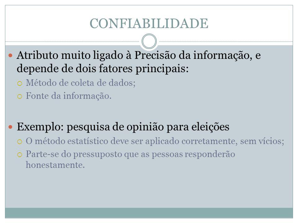 CONFIABILIDADE Atributo muito ligado à Precisão da informação, e depende de dois fatores principais: