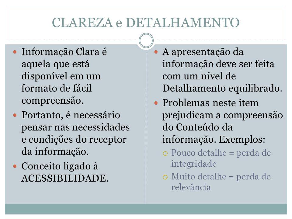 CLAREZA e DETALHAMENTO