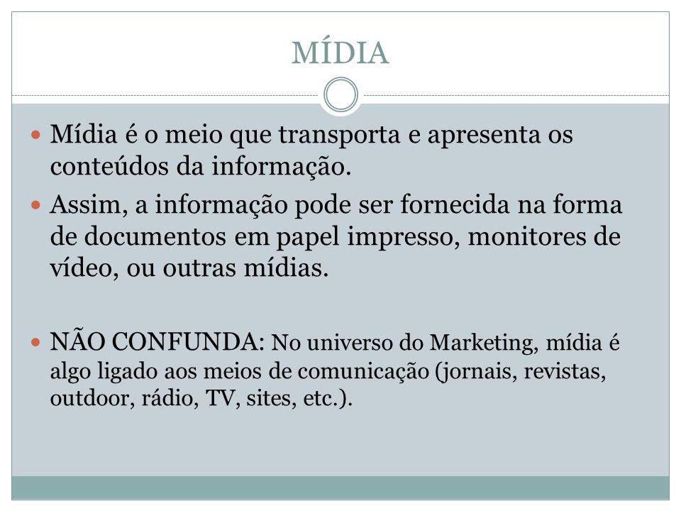 MÍDIAMídia é o meio que transporta e apresenta os conteúdos da informação.