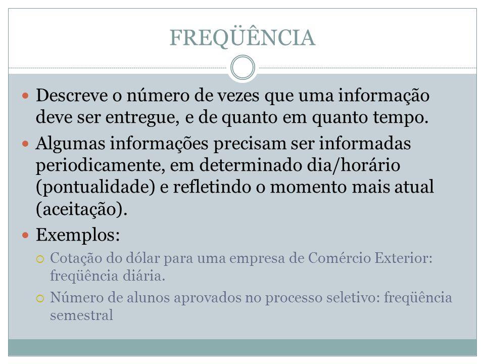 FREQÜÊNCIA Descreve o número de vezes que uma informação deve ser entregue, e de quanto em quanto tempo.