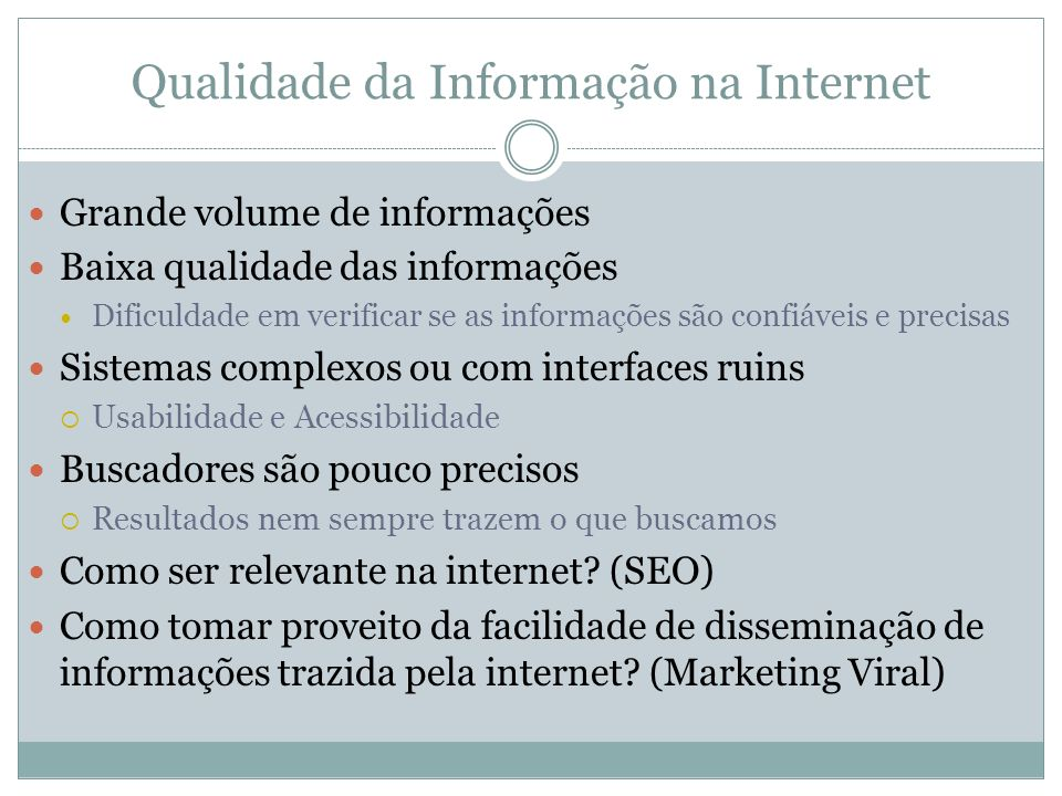 Qualidade da Informação na Internet