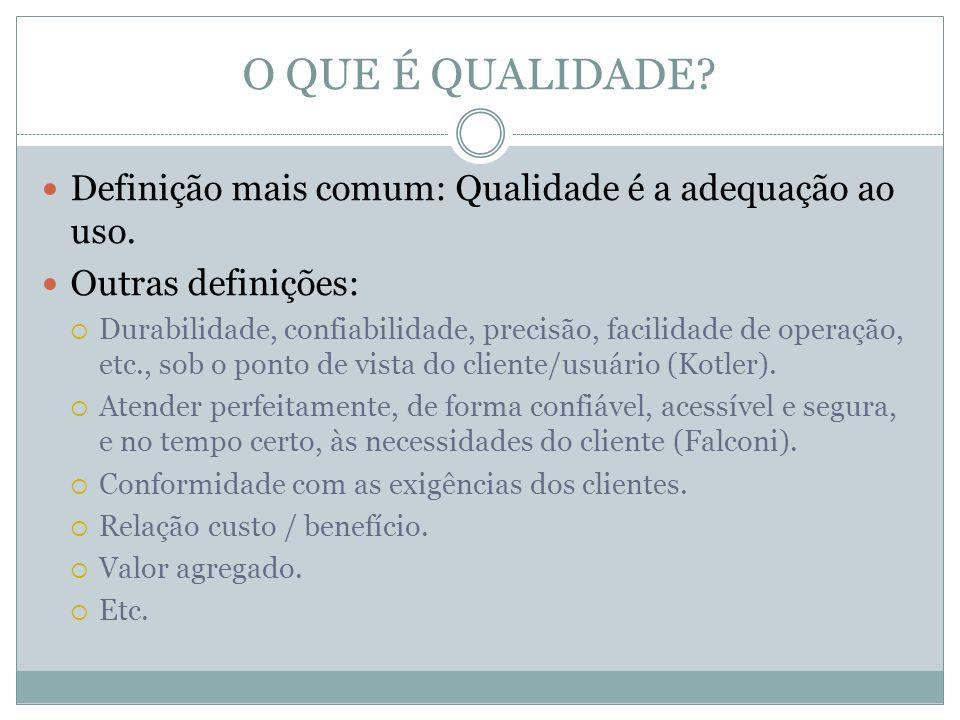 O QUE É QUALIDADE Definição mais comum: Qualidade é a adequação ao uso. Outras definições: