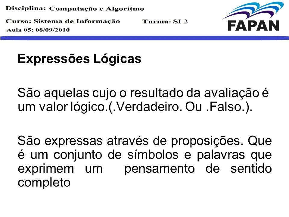 Expressões Lógicas São aquelas cujo o resultado da avaliação é um valor lógico.(.Verdadeiro. Ou .Falso.).