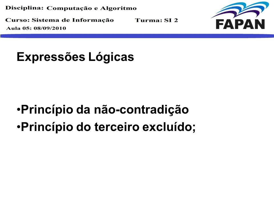 Expressões Lógicas Princípio da não-contradição Princípio do terceiro excluído;