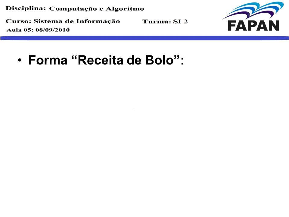 Forma Receita de Bolo :