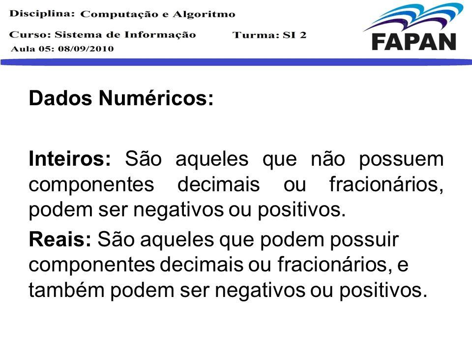Dados Numéricos: Inteiros: São aqueles que não possuem componentes decimais ou fracionários, podem ser negativos ou positivos.